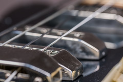 Close up of electric bass guitar elements (AudioClassic) Tags: guitar play rock electric music bass metal instrument equipment musical sound wood vintage volume jazz string black roll retro pop style band neck electrical concert audio studio wooden old musician background tuning closeup tone headstock pickup controls classic macro knob object chrome detail design bassguitar knobs instruments connect cord outlet