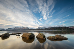 Reflected tranquility (Pete Rowbottom, Wigan, UK) Tags: uk nikon landscape lakedistrict mountains keswick cumbria water rocks waterreflections snow clouds light longexposure shoreline beautiful dramatic sky d750 lake catbells outdoor peterowbottom art geotagged peaceful tranquil nature