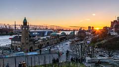 Landungsbrücken, Hamburg, Germany at Sunset (Milad DG) Tags: hamburg hh landungsbrücken river elb harbor harbour elbe horizon germanz deutschland sunset sun rays starburst port