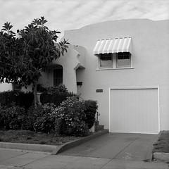 House, Alameda (austin granger) Tags: house alameda california bayarea architecture style awning stripes stucco geometry sidewalk square film gf670
