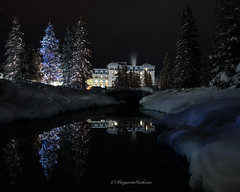 Fairmont Chateau (Margarita Genkova) Tags: fairmontchateau lakelouise alberta canada night reflections winter snow trees river banffnationalpark peceful