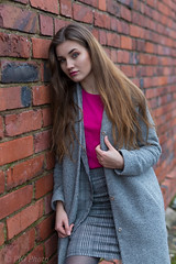 Pink Blouse ... The Wall (piotr_szymanek) Tags: marcelina portrait outdoor young skinny woman lady girl face eyesoncamera hand longhair bricks decay milf portraitunlimited 1k 5k 10k 20f 50f marcelinab 100f 20k 30k
