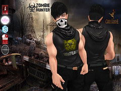 Zombie Hunter Wasteland Shirt Poster (stephentryce) Tags: sl secondlife avatar men boys guys shirt tank zombie apocalypse skull mask scarf mutants dead fashion virtual wasteland