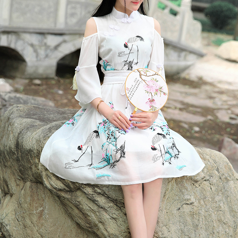 Your majesty he cherish summer blue new elements of Han Embroidery Strapless David crane daily improved Hanfu dress
