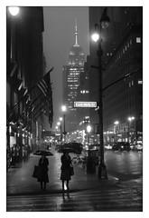 East 46 street (JM THE BURT) Tags: streetshot photoderue etatsunisdamerique fujixpro fujifilm fuji pluie nuit rain street night usa nyc newyork empirestatebuilding
