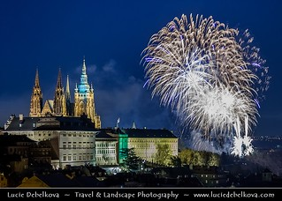 Czech Republic - Prague - Prague Castle with Saint Vitus's Cathedral -  & New Year's Firework