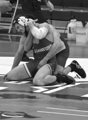 BRO-STA 165 2018-01-13 DSC_8412 bw (bix02138) Tags: brownuniversity brownbears stanforduniversity stanfordcardinal pizzitolasportscenter pizzitolasportscenterbrownuniversity providenceri january13 2018 wrestling sports intercollegiateathletics athletes jocks ©2018lewisbrianday 165pounds 165 jonviruet jaredhill