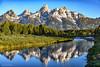 Middle Teton, Grand Teton and Mount Owen Reflected in the Snake River in Grand Teton National Park (Jim Frazee) Tags: middleteton grandteton mountowen snakeriver grandtetonnationalpark