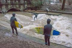City Surfing in Munich, Bavaria (Janos Kertesz) Tags: surfing water wave surf sport fun activity extreme outdoors river danger eisbach munich münchen bayern bavaria citysurfing