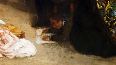 Courbet, The Studio, detail with boy drawing
