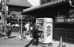 Ordinary day (odeleapple) Tags: leica lllf elmar 5cm kodaktmax100 film monochrome bw street vending machine people bicycle
