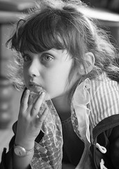 Candid Roni B&W (jayneboo) Tags: roni granddaughter bw mono portrait candid thoughtful iso1600 cl leica 85mmr14 age5
