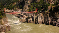 Hells Gates Salmon Run Fish Ways - Fraser River Gorge, Rocky Mountaineer Route, Vancouver to Kamloops, British Columbia, Canada (Black Diamond Images) Tags: hellsgaterailwaybridge hellsgatebridge hellsgate salmonrun railwaybridge bridge railroadbridge rockymountaineer rockymountaineerroute fraserriver fraserrivervalley fraserrivercanyon fraserrivergorge canadianrockies vancouvertokamloops canadiantourism armstronggroupltd goldleaf goldleafdomecoach train railroad railway travelphotography landscapes britishcolumbia canada fishways salmonfishways