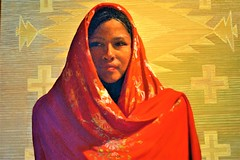 """""""The Red Shawl"""" (thomasgorman1) Tags: painting canvas oil gallery southwest woman native american nikon red shawl artwork nm"""