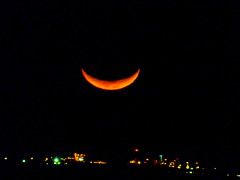 An orange smile in the sky over the Pacific Ocean (peggyhr) Tags: peggyhr waxingcrescentmoon orange night 13 illumination dsc06626a hawaii sacredmoon thegalaxy thegalaxystars
