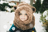Will - 11.75 Months Old (Katherine Ridgley) Tags: toronto snow winter weather outdoor outdoors outside baby babyboy babyfashion cutebaby hat winterhat warmhat cold chilly scarf hood ewok bear teddybear craft knit crochet toddler boy kid little family cute eyes blueeyes intense stare