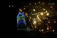 Queen Emma Bridge (Colored Lights) Against Shore, Willemstad, Curacao (Joseph Hollick) Tags: willemstad curacao bridge night nightlights