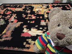 Selfie!! (pefkosmad) Tags: tedricstudmuffin teddy ted bear animal toy cute cuddly plush fluffy soft stuffed jigsaw puzzle hobby leisure pastime selfie photo photograph zoffany tribuneoftheuffizi art painting project progressreport 3000pieces