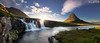 Setting sun behind Kirkjufoss (dieLeuchtturms) Tags: island europa 21x9 sonnenuntergang snæfellsnes kirkjufell kirkjufoss panorama vesturland langzeitbelichtung wasserfall 235x100 7x3 europe iceland cascade cataract longexposure longtimeexposure sunset waterfall is