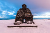 Bárður Snæfellsás (Þorkell) Tags: sculpture iceland winter snjór sky snæfellsnes bárðursnæfellsás nikkorafs1635mmf4gedvr arnarstapi nikond750 stytta snow westernregion is