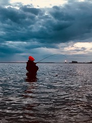 Day 18 - Sunset Wade (hp181san) Tags: wadefishing blue reflectin sunset fishing fish water clouds