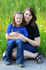 Rose and Me in the Grass (Vegan Butterfly) Tags: outside outdoor summer myself me woman person people child kid cute adorable mother mom daughter together family