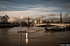 Paris under the waters (karmajigme) Tags: water flood fleuve river crue bridge paris seine travel clouds france eiffeltower city toureiffel sky boats bateaux nikon