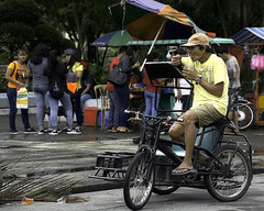 Break (Beegee49) Tags: people man pedicab rider drink silay city philippines