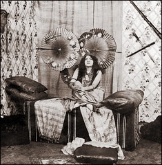 The Vamp I (ookami_dou) Tags: vintage stereoview woman parasol