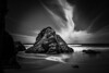 Rock with strange cloud (jack eastlake) Tags: grounds camping holidays winds offshore strange cloudscloud tooth geology formation rock bw mono beach gillards mimosa rocks national park tathra bega valley shire seascape wildbeachaus
