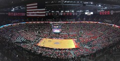 men's basketball - ohio state vs iowa (brown_theo) Tags: schottenstein center buckeye buckeyes basketball osu ohio state university athletics sports value city arena scoreboard court floor banners americanflag columbus campus crowd sellout soldout pano panoramic iphone 7 plus team