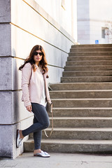 Pink leather jacket, white silk blouse, grey denim, silver mules-14.jpg (LyddieGal) Tags: athleta grayson lineapelle blush coloreddenim denim fashion gap grey jcrew leatherjacket loafers mules officestyle outfit rayban silkblouse silver spring style sunglasses tjmaxx vionic wardrobe weekendstyle white