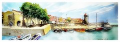 Colioure - Occitanie - France (guymoll) Tags: colioure occitanie france aquarelle watercolour watercolor sketch croquis mer port harbour bateaux ships boats
