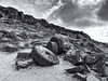 Millstones (l4ts) Tags: landscape derbyshire peakdistrict darkpeak snow winter millstones stanageedge highneb moorland abandoned gritstone gritstoneedge cloudscape blackwhite monochrome