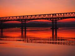 PC233495 (Karenjw) Tags: myanmar burma irrawaddy sunset sun evening river riverboat pandaw pandaw2 bridge reflection water