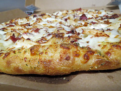 Pizza Crust. (dccradio) Tags: lumberton nc northcarolina robesoncounty indoors inside food eat round dominos bacon chicken alfredo crust pizza pizzapie cheese meltedcheese dominospizza pizzabox grease greasy canon powershot elph 520hs