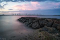 Everything Anyone Can Feel (BlueberryAsh) Tags: brightenbeach fff sunset beach boats rocks clouds longexposure pink sky water cloudsstormssunsetssunrises nikon24120 nikond750