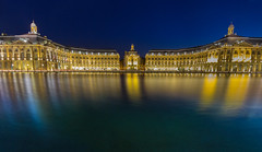 Blue hour at the Bourse (snowyturner) Tags: bordeaux place twilight mirror reflections bourse square illuminations bluehour efs 1018mm