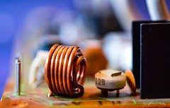 Drats......Coiled Again (Little Hand Images) Tags: coil copper circuitboard 1970'sstereo macro shallowdof