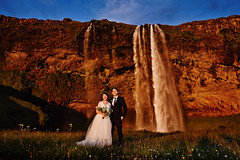 Wang Song & Ran (LalliSig) Tags: wedding photographer iceland people portrait portraiture pink water waterfall seljalandsfoss sunset