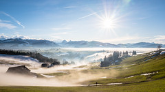 When the fog comes and goes... (dam.he) Tags: egg schwyz fog nebel green gras schnee snow einsiedeln sihlsee winter himmel sky switzerland schweiz innerschweiz leica
