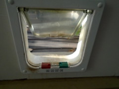 DSC01154 (classroomcamera) Tags: house home cat dog catdoor dogdoor red green white entrance exit come go floor low
