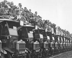 General NS type buses at Epsom racecourse late 1920's. (Ledlon89) Tags: londontransport lgoc general lptb lt lte trams buses bus tram