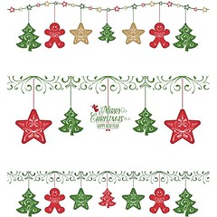 free vector Christmas greeting card with festive garlands (cgvector) Tags: background banner border bunting card celebrate celebration christmas colorful cute decoration design element flat garland gift green greeting happy holiday illustration isolated line new party pattern red retro scrapbook simple sock string stripes toys vector xmas year