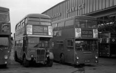 BX garage on a Sunday (DaveAFlett) Tags: londontransport 1970s bx bexleyheath daimler fleetline dms rt aecregent3 kyy629 jgu268k