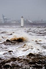 Stormy Water (Tony Shertila) Tags: england gbr geo:lat=5344071701 geo:lon=305167794 geotagged newbrighton newbrightonward unitedkingdom europe britain merseyside river mersey storm waves lighthouse wirral