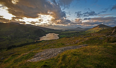 In the dying light (trojanhorse1956) Tags: glanmore lake eire sunset rock nikon d90 clouds kerry hills pass healy