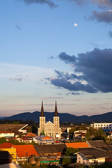 the Cathedral of Immaculate Conception Chanthaburi (Chanthaburi Cathedral) (baddoguy) Tags: aerial view ancient civilization architecture beauty in nature blue building exterior built structure cathedral catholicism christmas church cityscape cloud sky color image community copy space famous place gothic style holiday event human settlement landscape light natural phenomenon moon mountain no people old town outdoors photography religion roof spiked sunlight thai culture thailand tourism travel destinations vacations vertical