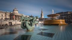 Trafalgar Square II (lhiapgpeonk) Tags: trafalgarsquare england london brunnen nd16 nationalgallery graufilter stmartininthefields grosbritannien nd30 grandebretagne greatbritain nd1000x style well