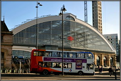 Lime Street (* RICHARD M (7.5 MILLION VIEWS)) Tags: limestreetliverpool liverpoollimestreetstation railwaystations trainstations architectture engineering transport publictransport bus doublrdeckerbus doubledeckedbus stagecoachbus glass arches windows traffic travel streetlamps streetlights lampposts streetfurniture networkrail merseyrail merseytravel liverpool merseyside maritimemercantilecity europeancapitalofculture capitalofculture liverpoollandmarks england unitedkingdom uk greatbritain britain britishisles